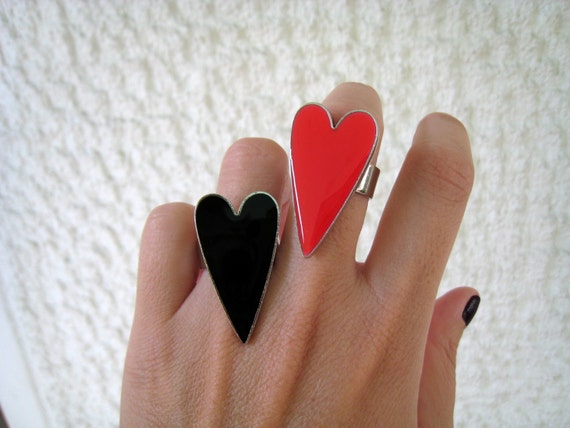 Two heart rings. Red and Black resin heart ring, glass heart ring, big chunky ring, modern minimalist, love friendship anniversary gift