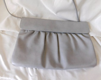 Vintage Cabrelli Shoulder/Clutch Handbag, Soft Grey Rutched Clutch, 1970s Cabrelli Canada