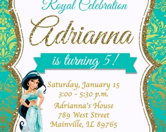 Princess Jasmine Aladdin Birthday Party Invitation