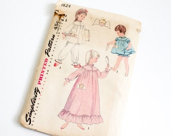 SIZE 3 PAJAMAS & NIGHTGOWN 1824 Child Childrens Simplicity Sewing Pattern 1940s Vintage Toddler Girls