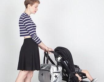 Baby stroller bag / Modern Diaper bag / Stroller bag / Urban / Large stroller bag / Maternity accesorios /Styles stroller bag  / Silver