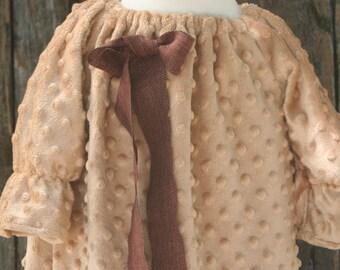 tan/khaki minky dot peasant dress 4/5 ready to ship brown bow