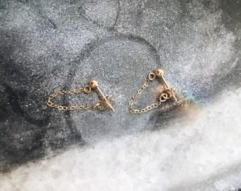 Gold Ball + Chain earrings // gold ball posts // 14K GF dainty earrings // Gold chain // Tiny ball earrings //
