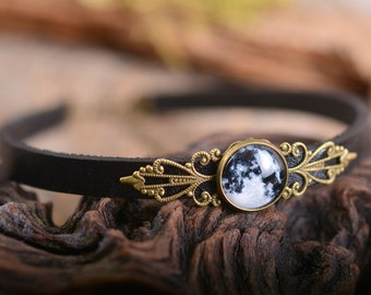 Choker necklace, full moon choker, space choker, black leather choker, adjustable choker, antique brass choker, genuine leather choker