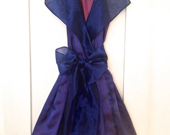 SALE Vintage 1960s Purple Iridescent Cocktail Party Wrap Dress with Big Collar and Bow xs / s