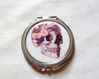 Skull Compact SALE Mirror Pastel Goth Romantic Roses Pocket Mirror