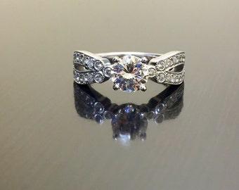14K White Gold Art Deco Diamond Engagement Ring - Art Deco 14K Gold Diamond Wedding Ring - 14K Diamond Ring - Diamond 14K Gold Art Deco Ring