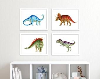 Dinosaur Print Set - Dinosaur Nursery Art - Dinosaur Wall Decor - Dinosaur Art Prints - Dinosaur Watercolor - Kids Room Decor - Boys Room