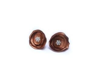 Flower Stud Earrings, Copper Color, Satin Fabric Flowers, Stud Flower Earrings, Tiny Flower Earrings, Fall Fashion, Autumn Earrings