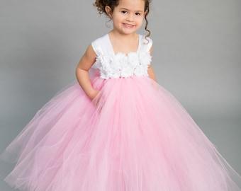 Flower girl dress - Tulle flower girl dress - Pink Dress - Tulle dress-Infant/Toddler - Pageant dress - Princess dress - Pink flower dress