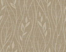 Contemporary Metallic Vertical Leaf Wallpaper - Botanical, Platinum, Gold, Beige, Cream Tan, Natural, For Wall - By The Yard - FV2158