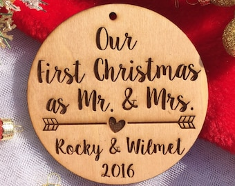 Our First Christmas as Mr. and Mrs. Ornament - Personalized Wood Ornament, Just Married, First Christmas Married, Wedding Gift, Marriage