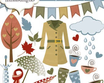 Rainy Days Clipart. Rain digital clip art set, raincoat, umbrellas, wellies, cloud, rain, tree, leaf, scarf, tea cup, banner. Autumn shower