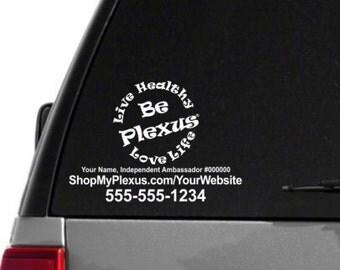 SALE-Live Healthy, Love Life, Be Plexus Car Decal With Custom Web/Phone/Text - Single Color - Plexus Compliant!