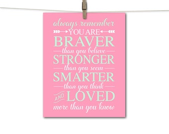 mint and pink nursery art | kids wall art canvas or print | you are braver than you believe | girls nursery decor | large nursery art