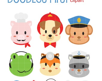 Animals With Professions II Clip Art for Scrapbooking Card Making Cupcake Toppers Paper Crafts