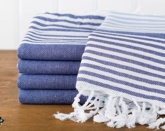 S A L E, Reef Turkish Towel, Peshtemal, Beach Towel, Hammam Towel, Navy and Blue