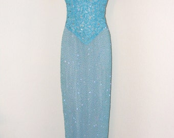Vintage 1990s Gorgeous Light Blue Intricately Beaded Gown in size 6