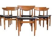 Lane Perception Walnut Dining Chairs - Mid Century Danish Modern Walnut Dining Chairs - Set of Six