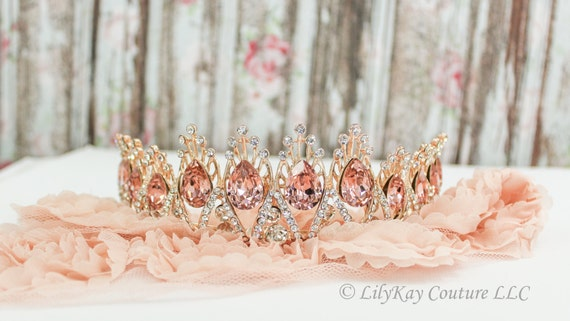 Bridal Tiara Blush Tiara Diadema Blush Wedding Crown Diamante Crown Vintage Rose Quinceanera Tiara de la boda Wedding Tiara Bridal Tiara
