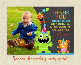 Monster Thank You Card with Photo, Birthday, Personalized, Little Monster Thank You, Matching