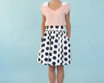 Polka Dot Skirt, Black And White Skirt, High Waist Skirt, Womens Skirt, Printed Skirt, Womens Clothing, Cotton Skirt, Tea length skirt