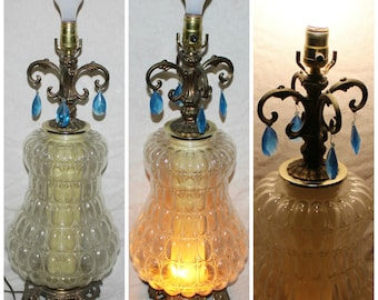"Hollywood Regency EF & EF 39"" Brass Pineapple Nemo Glass Table Lamp Vintage 1973 1970's X25"