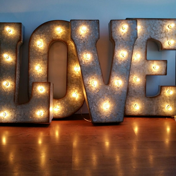 Love 21 large metal marquee letters wedding letter for Metal letters with lights