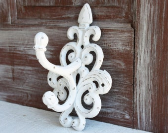 White Wall Hook, Towel Hook, Distressed White Hook, Cottage Chic Towel Rack, Coat Hook, Cast Iron, Entryway French Country Bathroom Hooks