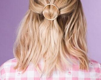 Circle Hair Clip, Metal Hair Clip, Minimalist Hair Clip, Minimalist Hair Accessory, Geometric Hair Clip, Hair Barrette, Stylish Hair Clip
