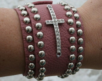 Pink Wrap Bracelet with Cross and Silver Spots