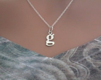 Sterling Silver Lowercase G Initial Charm Necklace, G Initial Necklace, Large G Letter Necklace, G Necklace, Typewriter G Initial Necklace