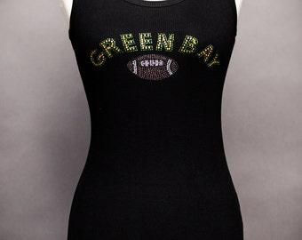 Green Bay Football Rhinestone Tank Top