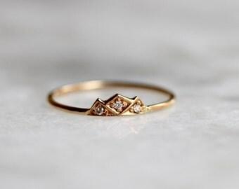 14k Diamond Mountain Ring, Mountain Stacking Ring, Triangle Ring, Diamond Stacking Ring, Midi Ring, Black Diamond, Blue Diamond, Outdoors