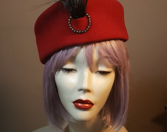 FREE  SHIPPING  1950 Pill Box Hat