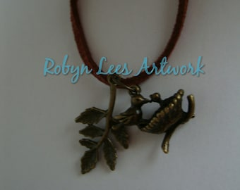 Bronze Birds Nest with Leaves Necklace on Brown Faux Suede Necklace, Nature
