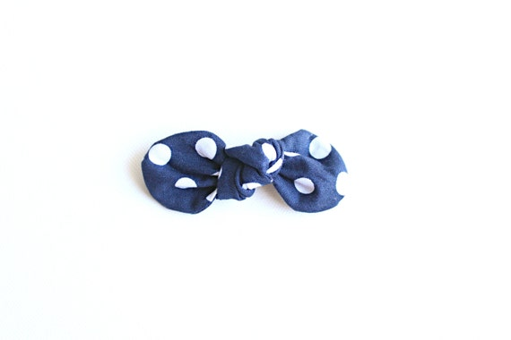 Navy Dot Knot Bow // Knotted Bow // Twisted Fabric Bow / Baby Bow /Baby Girl Bow / Retro Clips / Vintage Style Clips