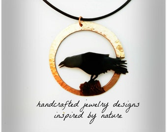 crow pendant, crow necklace, Goth crow, goth raven necklace, wearable crow art, crow jewelry, raven jewelry, rook, corvid, hammered copper