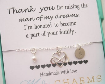 Mother of Groom Gift, Mother of the bride gifts, Mother in Law Wedding Gift, Sterling Silver Infinity Heart Initial Necklace, Personalized