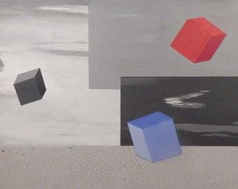 No More Submarines.  Surrealist Original Acrylic Painting by Brenda Helt.  Surrealist painting.  Dada painting.  Large landscape painting.