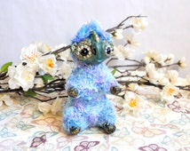 Baby dragon art doll, artist doll, ooak doll, ooak art doll, poseable art doll, fantasy creature, soft sculpture, animal doll, blue doll