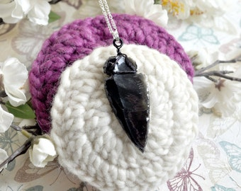 Dragon Glass Necklace, Dragon Glass Pendant, White Walker Necklace, Obsidian Arrowhead Necklace, Obsidian Pendant, Arrowhead Pendant