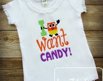 I want Candy saying Halloween Embroidery Design - candy embroidery design - halloween embroidery design