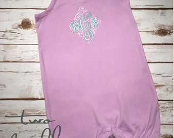 SUMMER SALE! Monogrammed Romper, Girls Summer Bubble Outfit