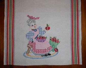Vintage Embroidered Grandmother Kitchen Towel - Vintage Grandma Apples Embroidery Tea Towel Dish Towel - Vintage Kitschy Embroidered Linen