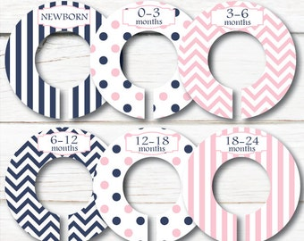 Navy Pink Closet Dividers, Children clothes organizers, Baby Closet dividers, Baby shower gift, Girl Clothes dividers, clothing divider C135