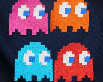 Retro Pac-Man Ghost Embroidered Iron On Patch