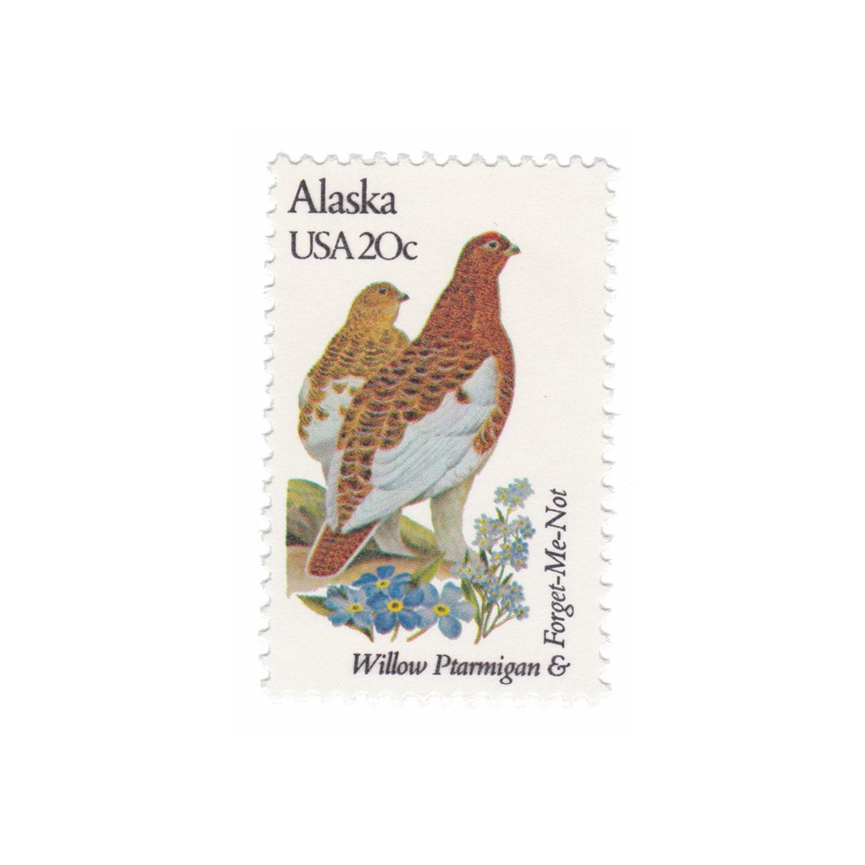 1982 20c State Bird and Flower Series Alaska Willow