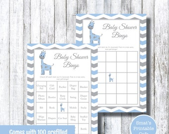 Blue Grey Giraffe Baby Shower Bingo Game with Pre-Filled & Blank Cards - PRINTABLE Baby Shower Games - Chevron - Boy Baby Shower Games Gray