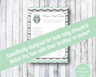 Mint Green Chevron Owl Baby Shower Name That Twin Baby Shower Game - PRINTABLE  - Instant Download - Baby Shower Games - Gray